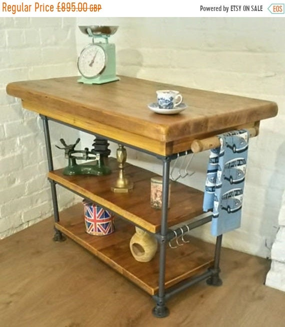 Spring-Sale FREE DELIVERY! Hand Made Industrial Steel Pipe Butchers Block Solid Reclaimed Pine Kitchen Island Table