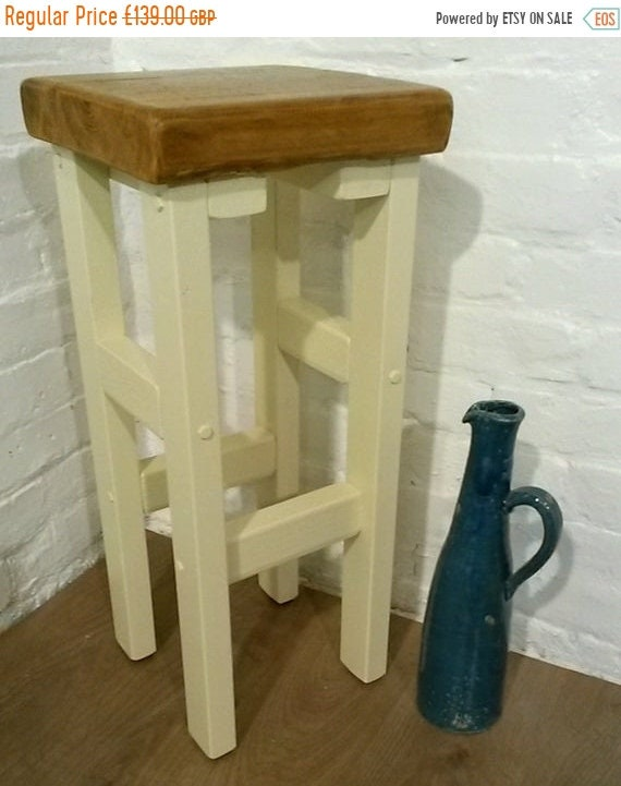 Bonfire Sale / FREE DELIVERY! Hand Painted F&B Made Reclaimed Solid Wood Kitchen Island Bar Stool