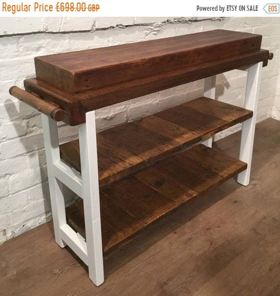 NewYear Sale FREE Delivery! HandMade Country F&B Painted Solid Reclaimed Pine 250 Year Old Butchers Block Table Kitchen Island Village Orcha