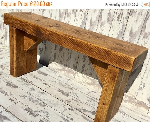 Autumn Sale OLD ENGLISH Chunky 4ft Hand Made Reclaimed Pine Beam Solid Wood Dining Bench