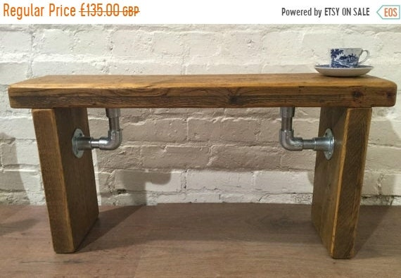 August sale FREE DELIVERY - Industrial Scaffold Steel Pipe Rustic Reclaimed Solid Pine Seating Dining BENCH - Village Orchard Furniture