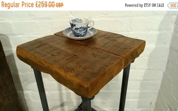 Sept Sale FREE DELIVERY! Reclaimed Church Beams Wood Galvanised Steel Pipe Industrial Kitchen Bar Stool