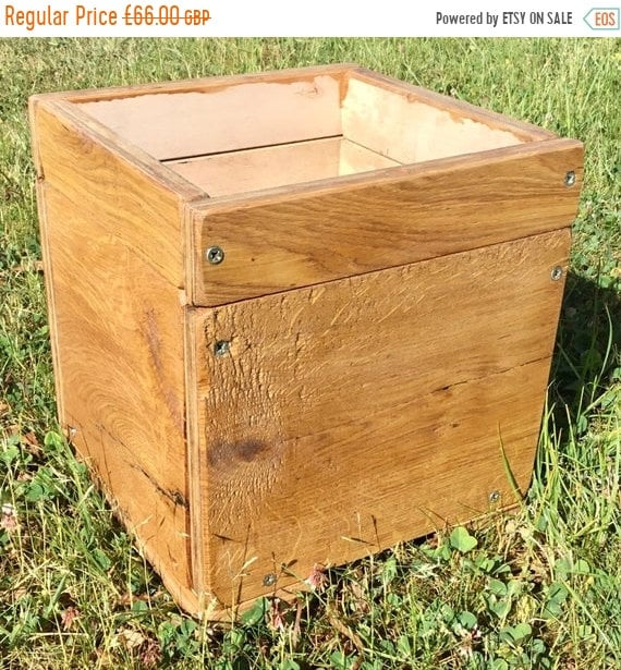 HUGE Sale NEW! Square British HandMade Rustic Solid Wood Oak & Ply Garden Flower Trough Planters