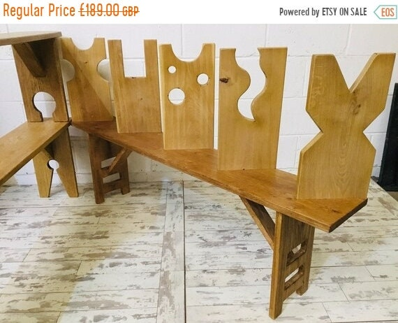 Autumn Sale 4ft OOAK Contemporary Artisan Hand Made Solid Vintage Oak Dining Study Bench - With your LEG Choice!