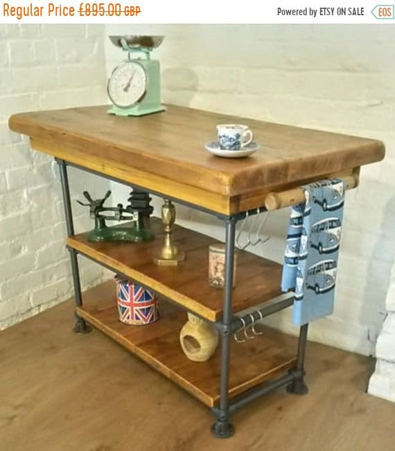 Xmas SALE FREE DELIVERY! Hand Made Industrial Steel Pipe Butchers Block Solid Reclaimed Pine Kitchen Island Table