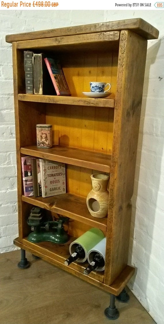 Halloween Sale SOLID Tall Reclaimed Pine Plank Steel Scaffold Pipe Industrial Cabinet Bookcase *Bespoke - Built To Last*