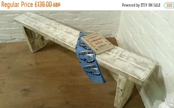 VALENTINE Sale FREE DELIVERY! Chunky Hand Made Solid Wood Pine White Wash Dining Chair Bench  *Bespoke - Built To Last*