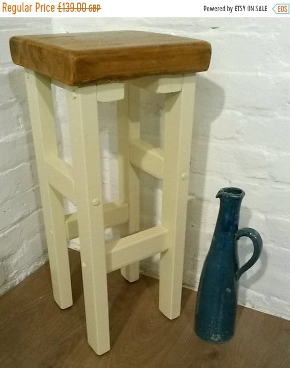 August sale FREE DELIVERY! Hand Painted F&B Made Reclaimed Solid Wood Kitchen Island Bar Stool