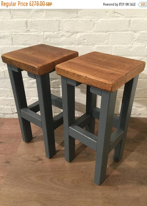 June Sale FREE Delivery! A Pair (x2) Hand Painted F&B Rustic Reclaimed Solid Wood Kitchen Island Bar Stool - Village Orchard Furniture