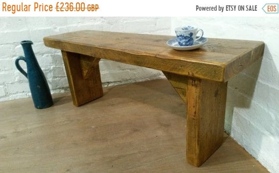 Bonfire Sale / HUGE X-Wide 6ft  Hand Made Reclaimed Old Pine Beam Solid Wood Dining Bench - Free Delivery