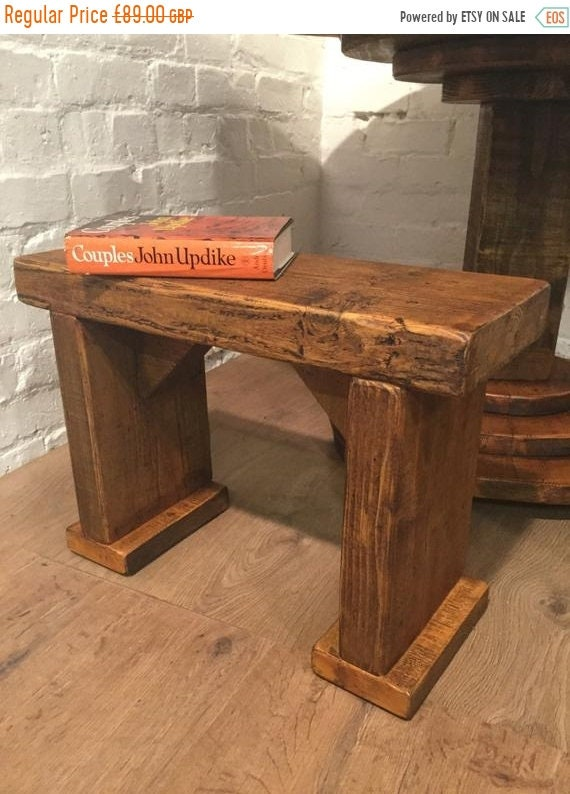 Xmas Sale Free Delivery! SINGLE Wide-Foot Solid Rustic Vintage Reclaimed Pine Plank Dining Table BENCH - Village Orchard Furniture