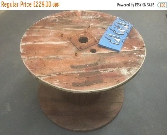 Halloween Sale Large Hand Made Reclaimed Pine Plank Spanish Cable Drum Garden Event Round Dining Table