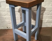 Autumn Sale FREE DELIVERY Hand Painted Farrow Ball Painted Made Reclaimed Solid Wood Kitchen Island Bar Stool in F B Baby Blue