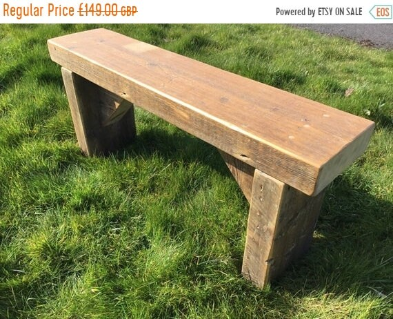 BIG Sale 1800's GARDEN BENCH Hand Made Solid Reclaimed Pine Wood Dining Table Painted Wide Bench - Village Orchard Furniture
