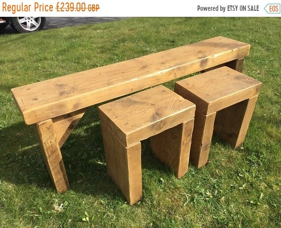 Autumn Sale Home or Garden Hand Made Chunky Solid Reclaimed Pine Wood Dining Table BENCH SET