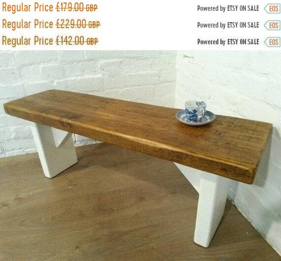 XMAS Sale Free Delivery! Extra-Wide F&B Painted 5ft Hand Made Reclaimed Old Pine Beam Solid Wood Dining Bench - Village Orchard Furniture