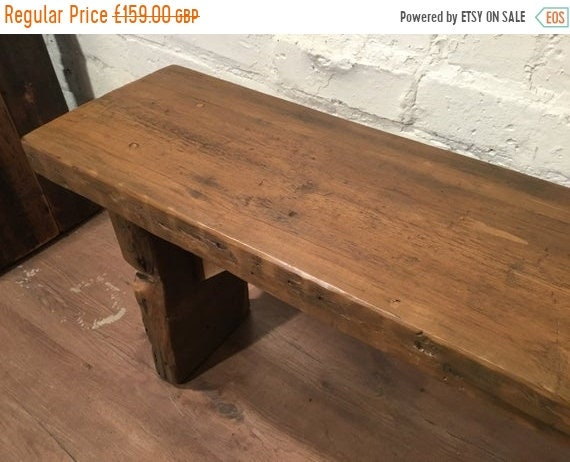 August sale Original *Only 1* Wide 4ft HandMade 1800s Solid Rustic Wood Reclaimed Pine Vintage Bench.