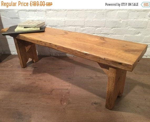 Halloween Sale X-Wide 4ft Hand Made Reclaimed Old Pine Beam Solid Wood Dining Bench with Carved Shaped Leg Detail in Light Oak Finish - Made