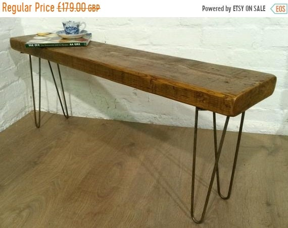 August sale 5ft Hairpin Legs Solid Rustic Vintage Reclaimed Pine Dining Table Seating BENCH - Village Orchard Furniture