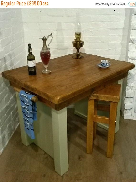 NewYear Sale FREE DELIVERY! Breakfast Bar + Stool F&B Painted British Solid Reclaimed Pine Butchers Block Table Kitchen Island