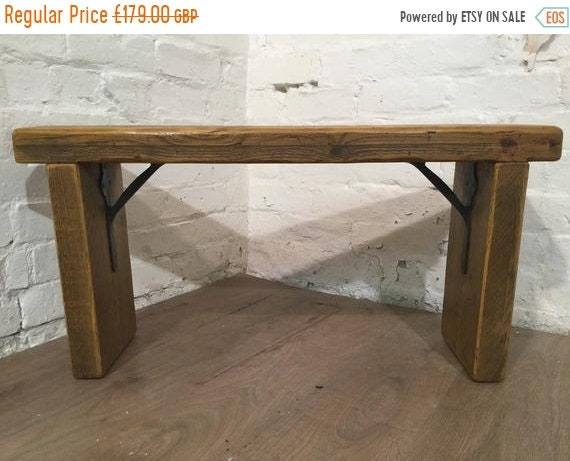 Halloween Sale Free Delivery Now - 3ft Industrial Hand Forged Wrought Iron Solid Reclaimed Pine Dining Table BENCH - Village Orchard Furnitu