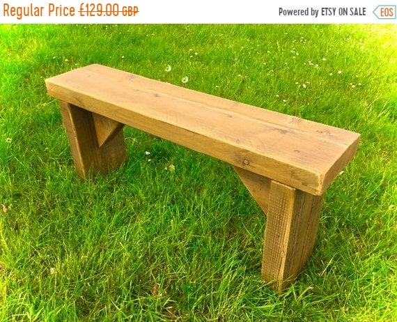 BIG Sale NEW! Golden Oak 4ft Hand Made Reclaimed Old Pine Beam Solid Wood Dining Bench