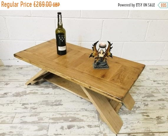Spring-Sale Chunky Artisan Hand Made Reclaimed Solid English Oak Contemporary Coffee Table