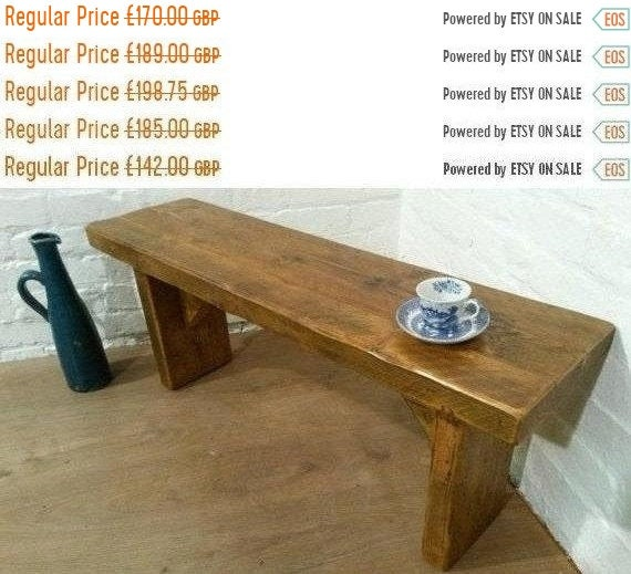 JAN SALE Old English X-Wide 5ft Hand Made Reclaimed Rustic Pine Beam Solid Wood  Coffee Table BENCH