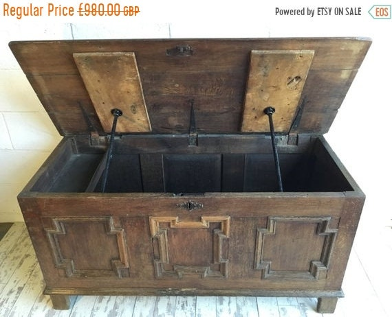 Halloween Sale 1800s English Solid Oak Chest Coffer - Stunning!