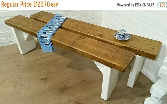 Autumn Sale Free Delivery! F&B Painted 4ft Hand Made Reclaimed Old Pine Beam Solid Wood Dining Bench - Village Orchard Furniture