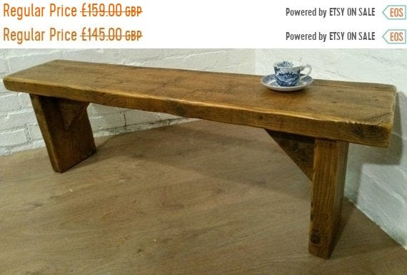 "NewYear Sale FREE DELIVERY! Extra-Wide 4ft 6"" Hand Made Reclaimed Old Pine Beam Solid Wood Dining Bench"