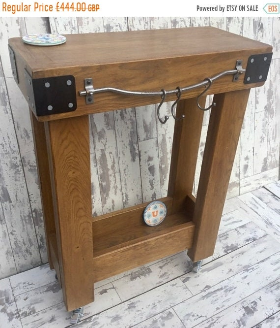 Autumn Sale Solid OAK Rustic Butchers Block Hand Made Country Chunky Compact Kitchen Island Trolley