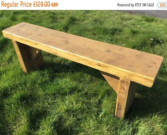 Summer Sale GARDEN BENCH Hand Made Solid Reclaimed Pine Wood Dining Table Painted Wide Bench - Village Orchard Furniture