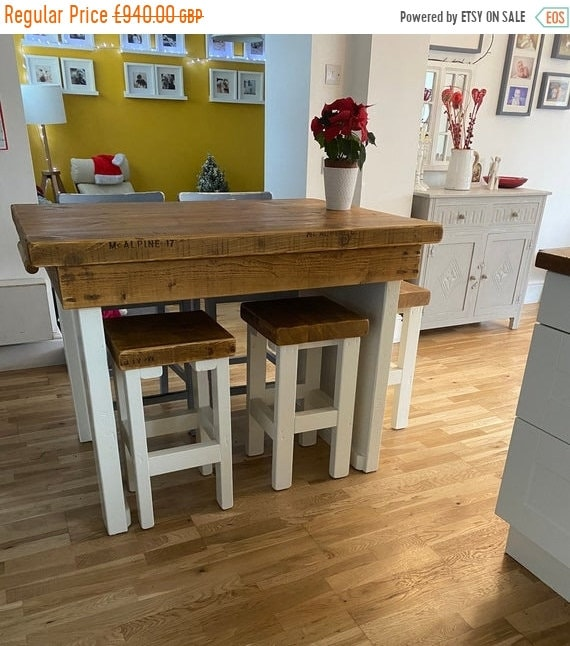 Spring Sale British Hand-Made Kitchen Island Breakfast Bar & 2 Stools British Hand Made Solid Reclaimed Pine Table