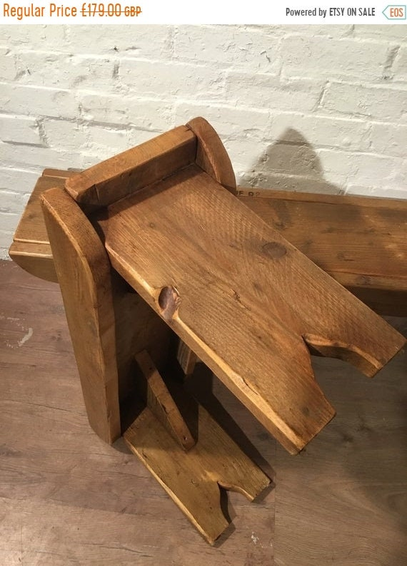Xmas SALE Old School Antique 5ft Rustic Solid Reclaimed Old School Pine Dining Plank Table Chair Bench - Village Orchard Furniture