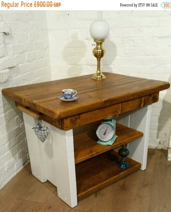 Xmas SALE FREE Delivery! Open Painted British Solid Reclaimed Pine Butchers Block Table Kitchen Island - Village Orchard Furnitu
