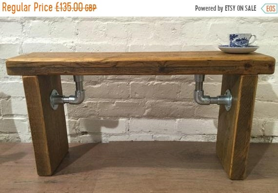 Summer Sale FREE DELIVERY - Industrial Scaffold Steel Pipe Rustic Reclaimed Solid Pine Seating Dining BENCH - Village Orchard Furniture