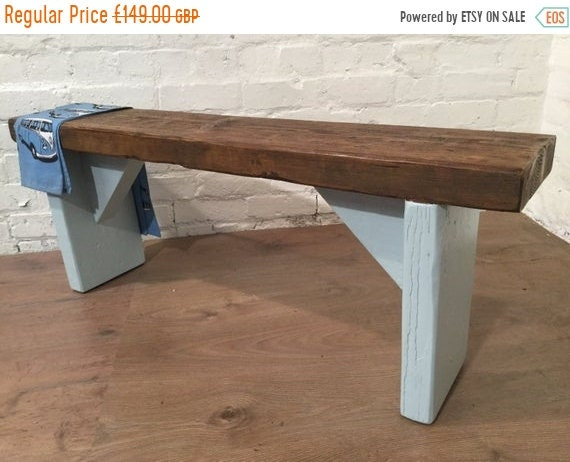 HUGE Sale Free Delivery! UK Hand Painted Laura Ashley Duck Egg Blue 4ft Reclaimed Solid Pine Dining Bench - Village Orchard Furniture