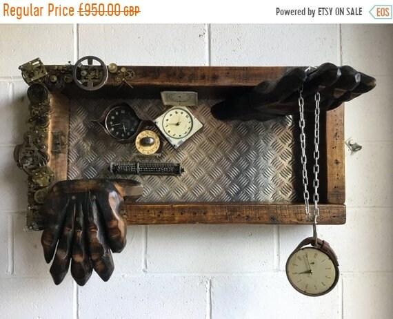 "8 SALE 8 OOAK Artisan Art Piece - ""TIME"" - 1800's Reclaimed Beams, 1960's Brass Clocks, Copper & Leather - Darlington Old Civic Theatre"