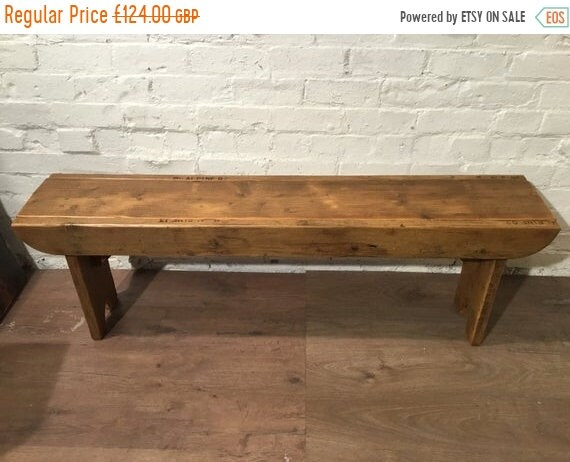 Xmas SALE Old School Antique 3ft Rustic Solid Reclaimed Pine Dining Plank Table Chair Bench - Village Orchard Furniture
