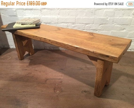 August sale X-Wide 4ft Hand Made Reclaimed Old Pine Beam Solid Wood Dining Bench with Carved Shaped Leg Detail in Light Oak Finish - Made in