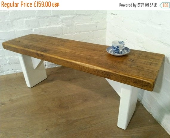Xmas SALE Free Delivery! Extra-Wide F&B Painted 4ft Hand Made Reclaimed Old Pine Beam Solid Wood Dining Bench - Village Orchard Furniture
