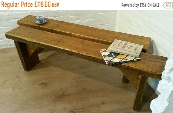 Bonfire Sale / FREE Delivery! 3ft Hand Made Reclaimed Old Pine Beam Solid Wood Dining Bench