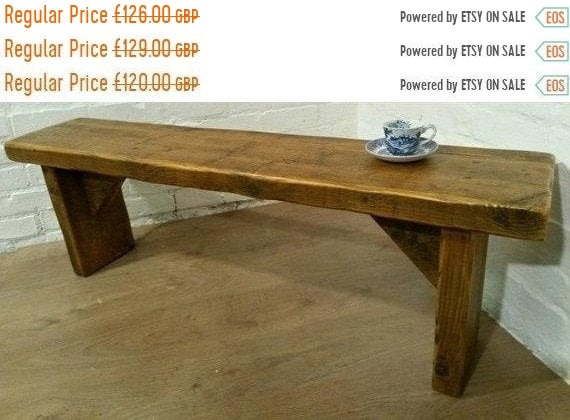 Xmas SALE FREE DELIVERY! Extra-Wide 1 metre 100cm Hand Made Reclaimed Old Pine Beam Solid Wood Dining Bench