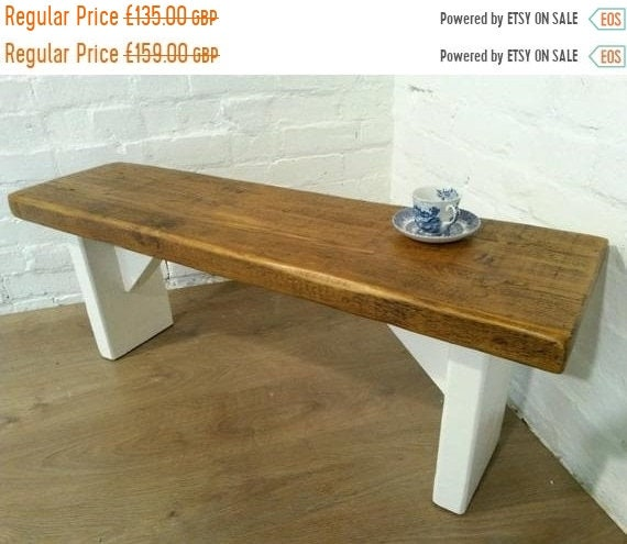 Autumn Sale Extra-Wide F&B Painted 3ft Hand Made Reclaimed Old Pine Beam Solid Wood Dining Bench - Village Orchard Furniture
