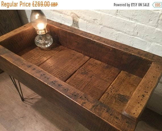 Halloween Sale FREE DELIVERY! English Hand Made Solid Reclaimed 150 y.o Pine Beams & Industrial Hairpin Legs Coffee Table - Village Orchard