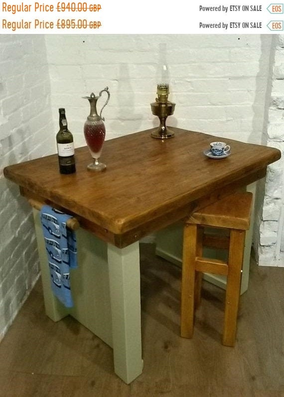 Summer Sale FREE Delivery! Kitchen Island Breakfast Bar & 2 Stools British Hand Made Solid Reclaimed Pine Table
