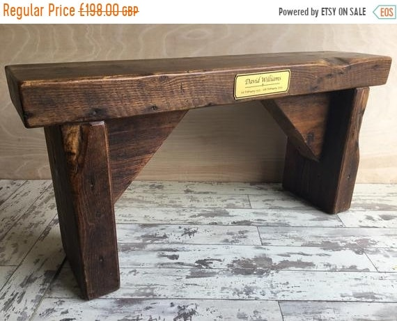 June Sale Memorial Tribute Hand Made Reclaimed Church Solid Pine Bench with  In Memory Engraved Carving Plaque