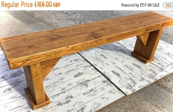 Autumn Sale HandMade Chunky Solid Pine Wood Rustic Vintage Reclaimed Pine Dining Oak Finish BENCH