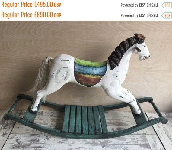 June Sale Beautiful Vintage Hand Made Painted Wooden Large English Rocking Horse